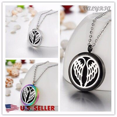 Angel Diffuser Necklace - 316L Stainless Steel Angelic Wings Essential Oil Diffuser Necklace Aromatherapy