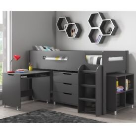 Brand New Dynamo Dark Grey Cabin Bed - Ladder Can Be Fitted Either Side!