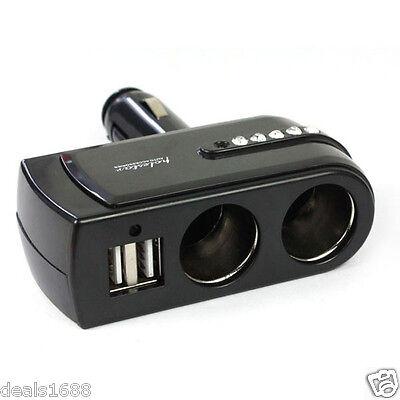 Dual Socket 2 Way USB Port Car Cigarette Lighter Splitter DC 12V Vehicle Charger