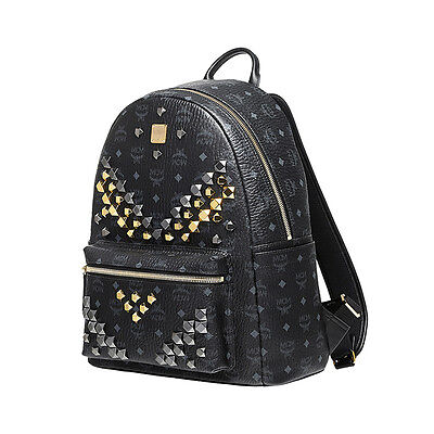 MCM Medium BackPack Stark MMK6SVE18BK Black Color