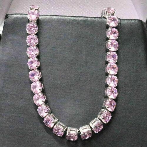 Sparkling Round Pink Sapphire Bracelet Women Wedding Jewelry 14K Gold Plated