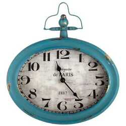 Large Antique Teal Oval Metal Wall Clock with Top Handle Shabby Chic Decor