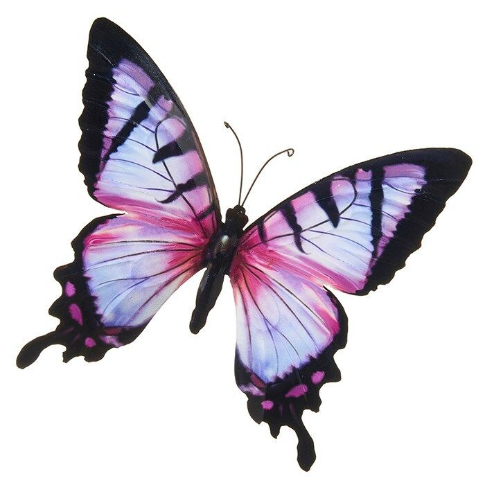 Stunning Metal Wall Art Decor Garden or Home Pink Colourful Butterfly 31 x 35cm