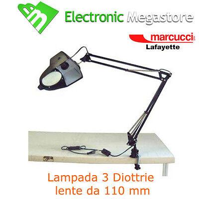 LENTE INGRANDIMENTO 3 DIOTTRIE PER LABORATORIO DA TAVOLO CON LAMPADA 8082-8