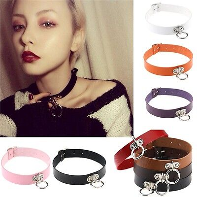 Punk Gothic Leather Choker Necklace Collar Studded Rivet Buckle Neck Ring - Stud Choker
