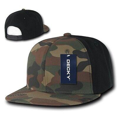 Woodland & Black Camouflage Flat Bill Snapback Camo Baseball Cap Caps Hat Hats Baseball Caps Woodland Camouflage Cap