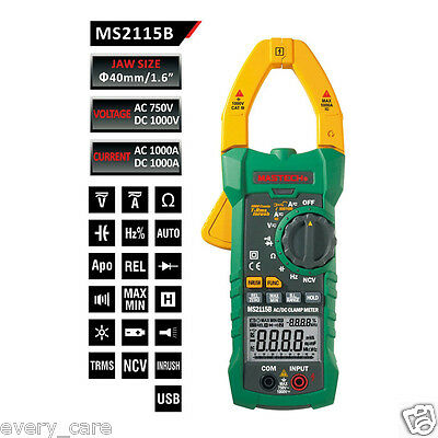 Mastech Ms2115b True Rms Digital Clamp Meter Multimeter Hz Tester With Usb