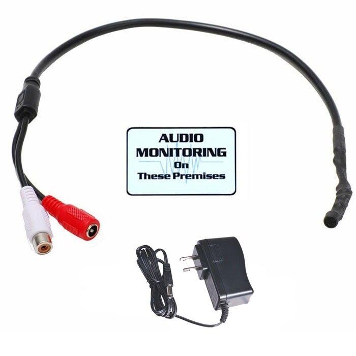Security Camera Mini Microphone High Sensitive Audio Spy Mic w/ Power Supply cjm