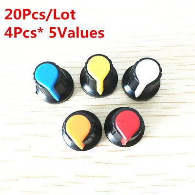20pcs 5value 6mm Wh148 Potentiometer Knob Cap Kit Yellow Blue White Red 1517mm