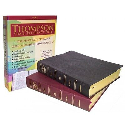 Kjv Thompson Chain Reference Large Print Bible Genuine Leather Burgundy Indexed