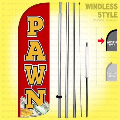 Pawn - Windless Swooper Flag Kit 15 Tall Feather Banner Shop Sign Rq-h