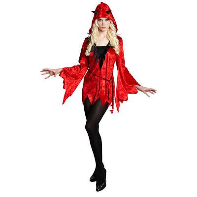 Damen-Kostüm Diabola, Kapuzentunika Teufel Hölle Feuer    - Feuer Teufel Kostüm