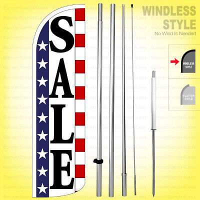 Sale - Windless Swooper Flag Kit 15 Feather Banner Sign Stars Stripes Wq96-h