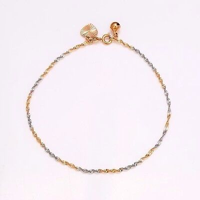 """9ct 9k Yellow & White """"Gold FILLED"""" ANKLE CHAIN ANKLET . Adjust. 10.6"""" Gift"""