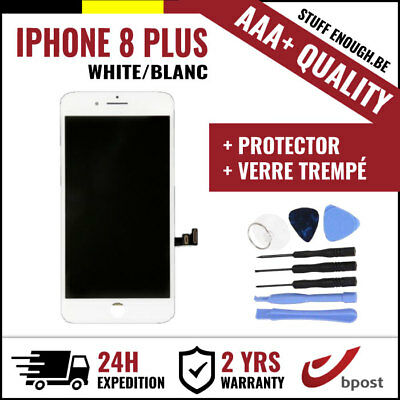 A+ LCD TOUCH SCREEN/SCHERM/ÉCRAN WHITE BLANC+VERRE TREMPÉ+KIT FOR IPHONE 8 PLUS