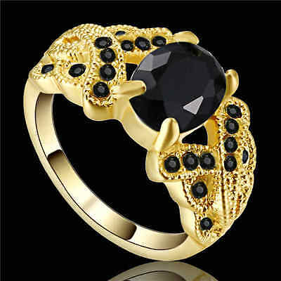 Size 7 Vintage oval Cut Black Sapphire Ring yellow Rhodium Plated Jewelry