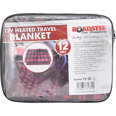 NEW Extra Large 12V Heated Travel Electric Blanket 8ft Lead Free Delivery