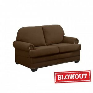 Nailhead Trimmed Love Seat- Available in Dark Brown or Dark Grey