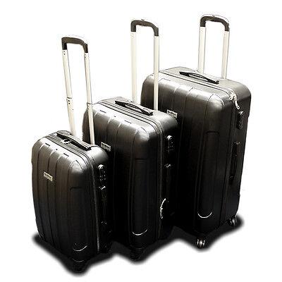 New DeBox 3PCS Luggage Travel Set Bag 3 PCS ABS Trolley Suitcase w/ Lock Black