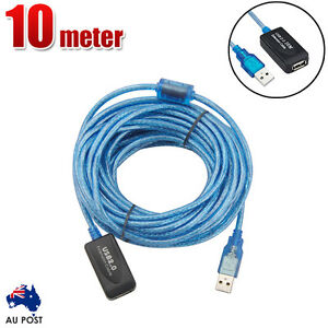 10m USB Extension Cable Active Repeater Hi Speed Extender Lead USB2.0 480Mbps AU
