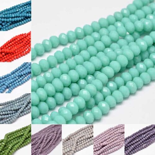 10 strand Multi Color Faceted Oval Glass Beads Strands For J