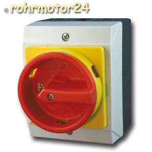 16A Hauptschalter Reparaturschalter 4 polig AP Gehäuse Lasttrennschalter Not-Aus