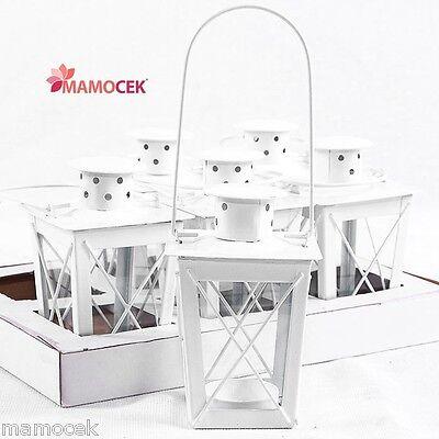 LANTERNA candeline tea light BIANCA cm.h12 metallo vetro portacandela bomboniera