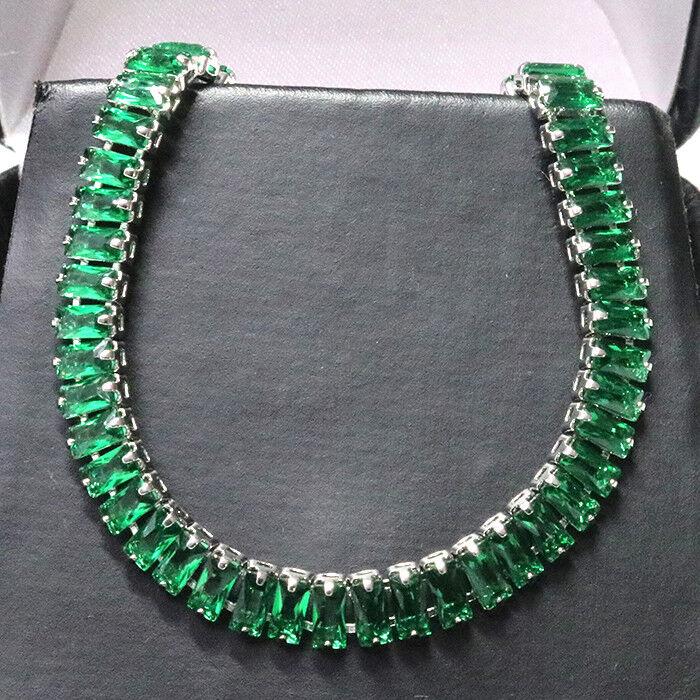 Baguette Emerald Tennis Bracelet Women Wedding Jewelry 14K White Gold Plated