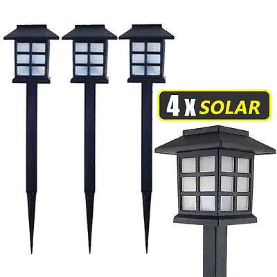 4x Lampade a LED da Giardino Stile Lanterna Paletti Ricarica Solare 38 x 9 x 9cm
