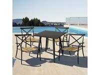 Metal Patio Table & 4 Chairs in Black