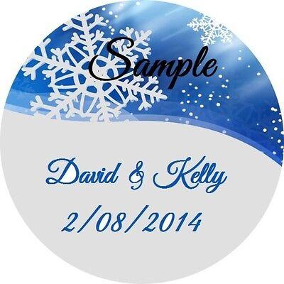 120 Personalized Custom Blue Snowflake Winter Wedding Stickers Envelope Seals - Custom Envelope Seals