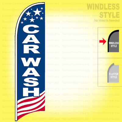 Car Wash - Windless Swooper Flag 2.5x11.5 Ft Feather Banner Sign Usa Bb