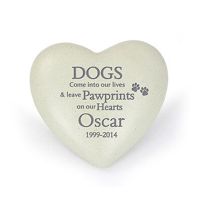 Personalised Engraved Pet Dog Memorial Heart (Grave Ornament, Remembrance