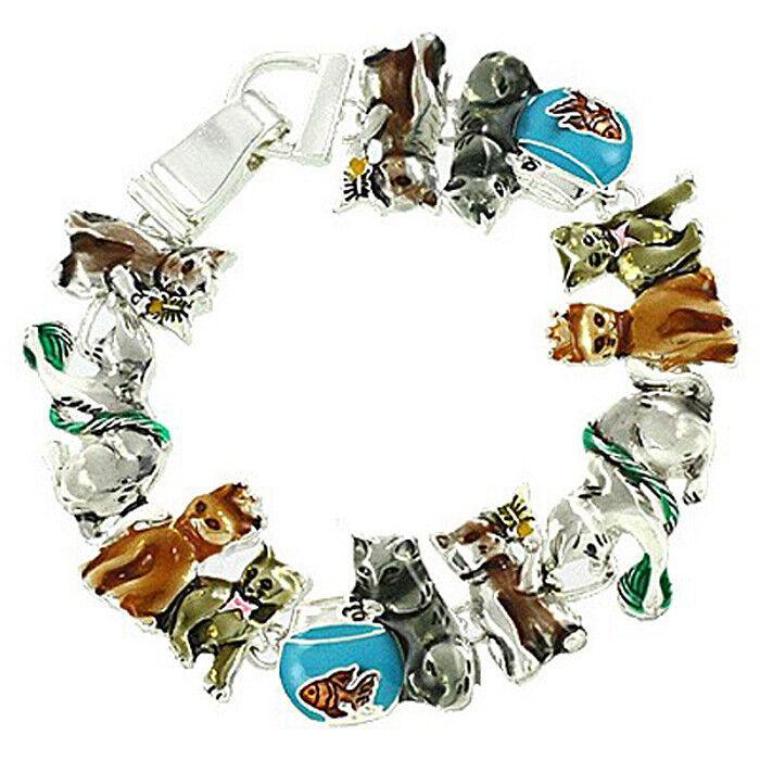 Cat Theme Bracelet Enamel Magnetic Clasp Silvertone