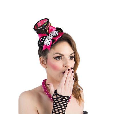 Popart Hut 50er Zylinder, Karnevalkostüm Zubehör Minihut mit Clip - Mini Zylinder Kostüm