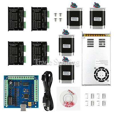 Us Ship Cnc 4-axis Kit With Tb6600 Motor Driver Usb Breakout Board Nema23 Motor