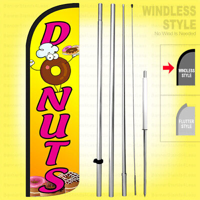 Donuts - Windless Swooper Flag Kit 15 Tall Feather Banner Sign Yq-h