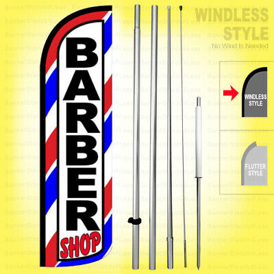 Barber Shop - Windless Swooper Flag Kit 15 Feather Banner Sign Wq28-h