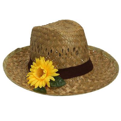 Strohhut Flechthut mit Sonnenblume und Hutband Kostümzubehör Farmer Bauer