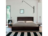Modern Brown Leather Double Bed & Mattress
