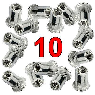 Qty. 10 Stainless Steel 304 Rivet Nut Rivnut Insert Nutsert - 8-32 Unc Nuts