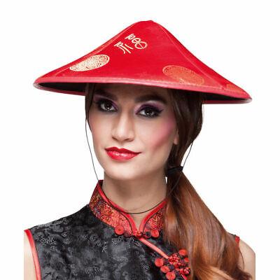 Kegelhut Asia rot, Chinesenhut mit Schnur Asiatisch Chinesenkostüm Zubehör
