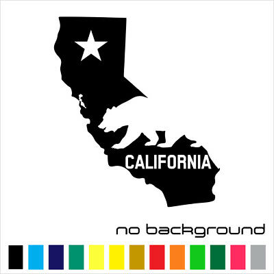 California State Sticker Vinyl Decal - Map CA Republic Flag LA Wall Car Window
