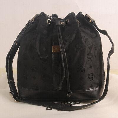 AUTHENTIC MCM Jacquard Drawstring Medium Shoulder Cross body Bag + Dust Bag