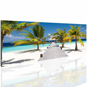 bild leinwand bilder 604911a kunstdruck strand meer wandbild 110x40 blau 1tlg ebay. Black Bedroom Furniture Sets. Home Design Ideas
