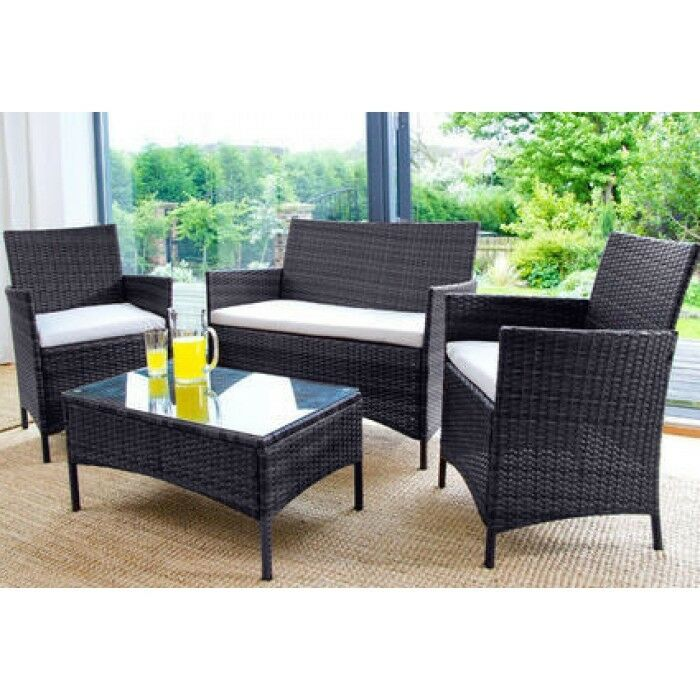 Garden Furniture - RATTAN GARDEN FURNITURE SET 4 PIECE CHAIRS SOFA TABLE OUTDOOR PATIO SET