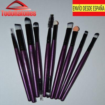 set 10 brochas de maquillaje profesional alta calidad para ojos pestañas sombras