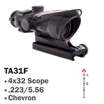 Trijicon TA31F ACOG 4x32 Scope with Illuminated Red Chevron. 100% Authentic!