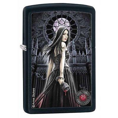 Zippo Windproof Black Matte Anne Stokes Lady Chalice Lighter, 28858, New In Box