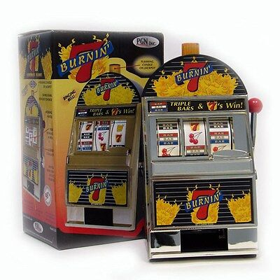 Burning 7's Slot Machine Bank with Spinning Reels - Flashing Lights and Bells - Flashing Light Machine